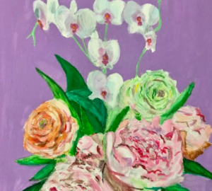 Art by Faith Mora, vase of flowers in front of a purple wall