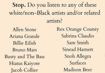 """This is a pale coral text post that says """"Stop. Do you listen to any of these white/non-Black artists and/or related artists?"""" and then lists these artists: Allen Stone Ariana Grande Billie Eilish Bruno Mars Busty and the Bass Hiatus Kaiyote Jacob Collier Jessie J JoJo Justin Timberlake Lawrence Rex Orange County Sabrina Claudio Sam Smith Sinead Hartnett Snoh Allerga Surfaces Madison Beer Tom Misch Trevor Daniel Vulfpeck Yebba."""
