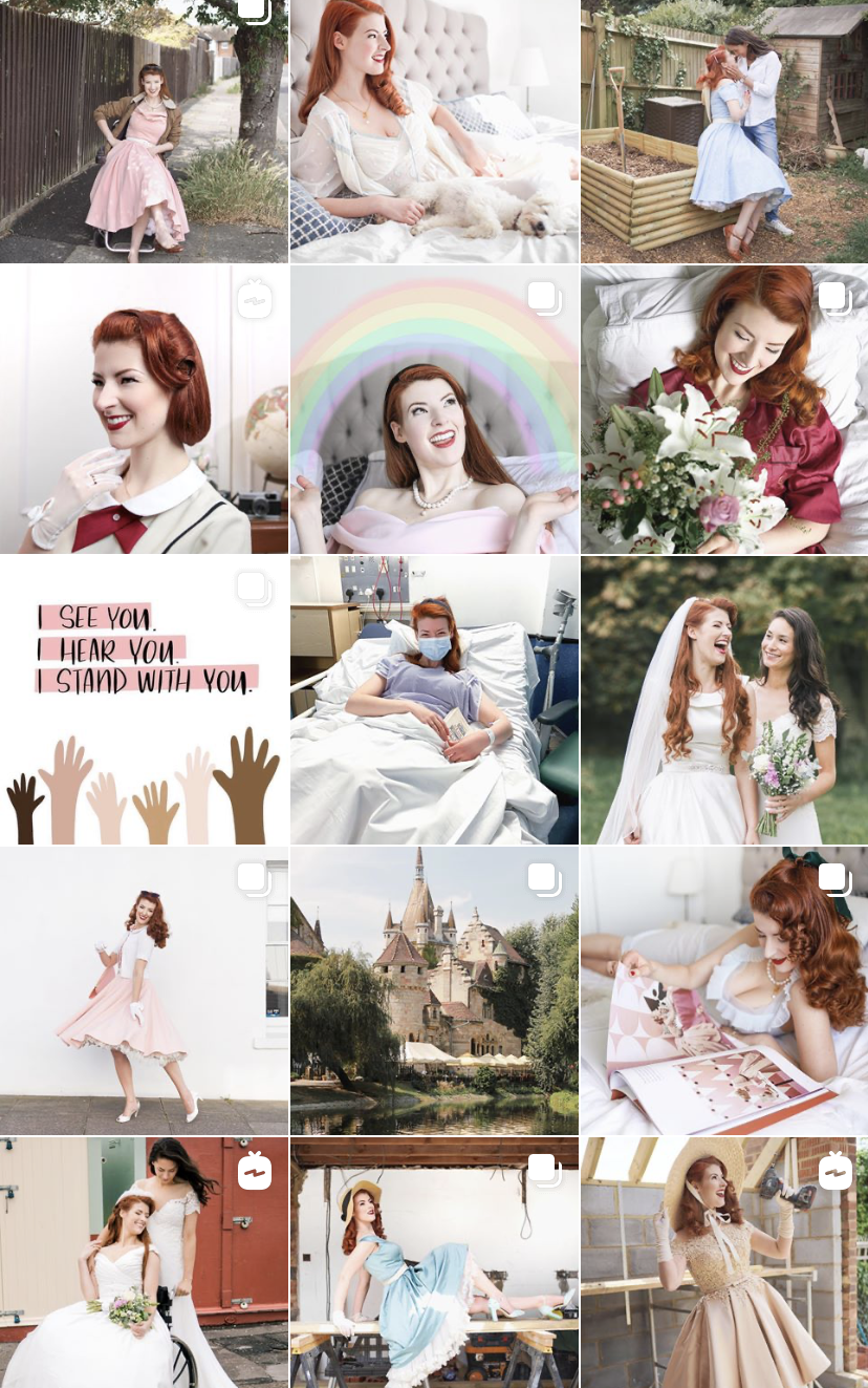 Jessica's Instagram. showing her vintage style and some wedding photos.