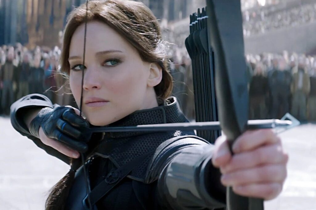 Jennifer Lawernce as Katniss Everdeen from Liongate's movies of Hunger Games