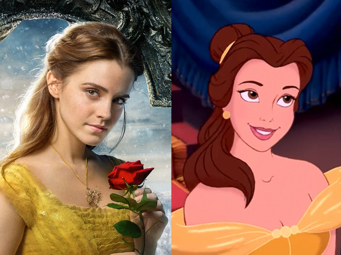 Belle, Emma Watson and animated from Disney