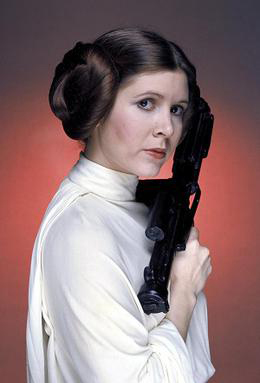 Carrie Fischer as Princess Leia in promotional photos for Star Wars